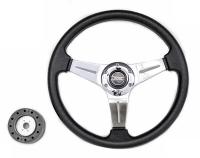 Рулевое колесо Pretech 33 см, PU, спицы хром (QC-5125)