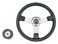 Рулевое колесо Pretech 33 см, PU, спицы алюминий (QC-5125D)