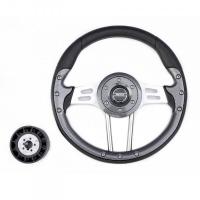 Рулевое колесо Pretech 33 см, PU, спицы серебро, карбон (HD-5166F carbon)
