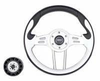 Рулевое колесо Pretech 33 см, PU, белый, спицы серебро (HD-5166G white)
