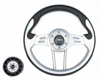 Рулевое колесо Pretech 33 см, PU, серый, спицы серебро (HD-5166G grey)