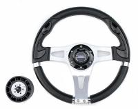 Рулевое колесо Pretech 33 см, PU, чёрный, спицы серебро (HD-5181 black)